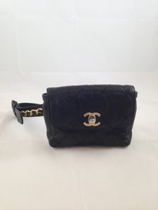 2814f373df7336 Chanel Quilted Leather Belt Fanny Pack Festival Travel Chain Black Clutch