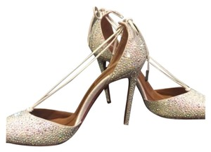 Aquazzura Metallic- Crystal Embellished Pumps
