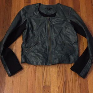 Scoop NYC Hunter green leather/ black knit Leather Jacket