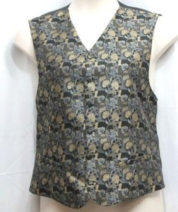 Gold/Black Jacquard Metallic Front Satin Formal Evening L Vest