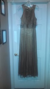David's Bridal Bronze Polyester W Tulle Overlay 4007-0348 Formal Bridesmaid/Mob Dress Size 14 (L)