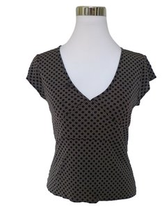 Gap Taupe Geometric Career Top Black