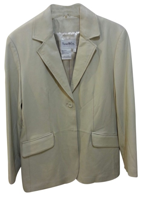 Pamela McCoy Boyfriend Blazer Style One Button Grey Leather Jacket