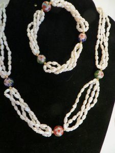 Vintage 14k Freshwater Pearl and Cloisonne Beads 4 Strand Necklace w/Free matching Bracelet