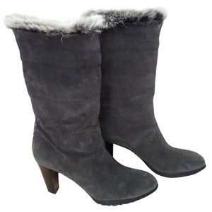 Aquatalia by Marvin K. Suede Real Fur Chunky Heel Grey Boots