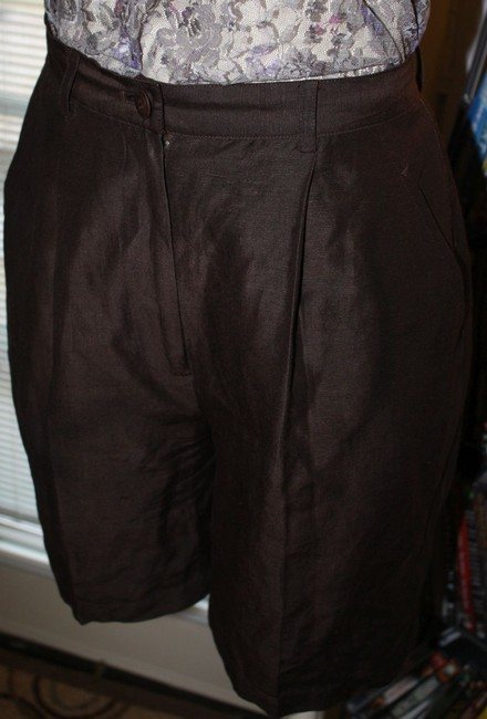 CLASSIQUES ENTIER Silk Nordstrom Like New Pleated Bermuda Shorts BROWN