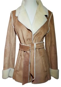 Wilsons Leather Faux Shearling Hip Length Warm Soft Belted Western Boho Coat