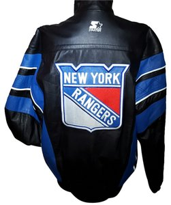 Starter Nhl Hockey Quilt Lined Fall Winter Genuine Piping Rangers Unisex Medium Large Black, royal Leather Jacket