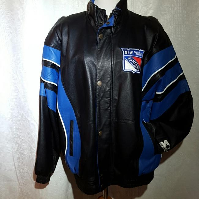 Starter Nhl Hockey Quilt Lined Fall Winter Genuine Piping Rangers Unisex Medium Large Black, royal Leather Jacket Image 1