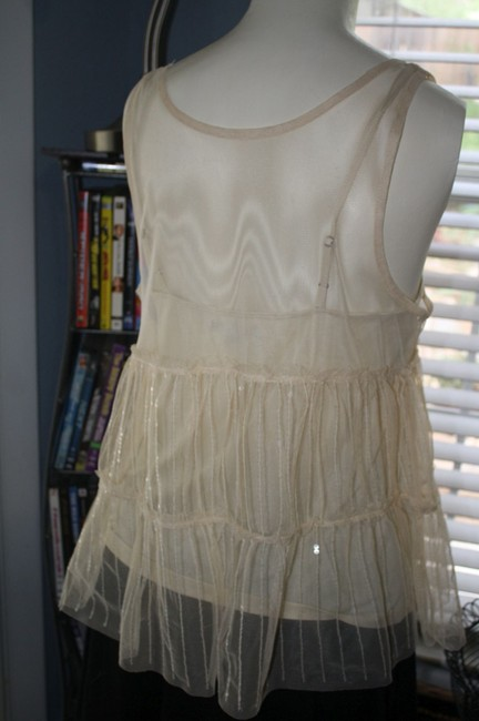 American Eagle Outfitters Shimmer Summer Spaghetti Strap Like New Mesh Top BEIGE and SPARKLE