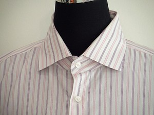 Hugo Boss Men Pink Stripe Dress Shirt