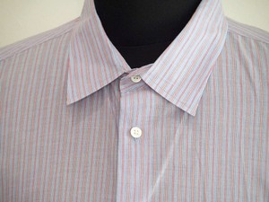 John Varvatos Men Blue Stripe Cotton Dress Shirt