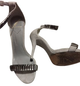 Brian Atwood Jeweled Suede Grey Pumps