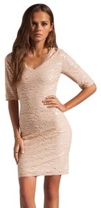 BCBGMAXAZRIA V-neck New Years Holiday Cocktail Sequined Pink Bcbg Max Azria Party Bodycon Mini Sexy Flirty Dress