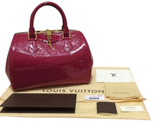 Louis Vuitton Monogram Vernis Made In France Vernis Leather Pink Speedy Satchel in Indian Rose (Pink)
