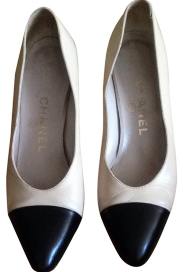 Chanel Beige With Black Toe Pumps