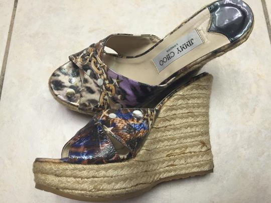 Jimmy Choo Espadrille Patent Chain Logo Fun Flirty Comfortable Sexy Colorful Wedges