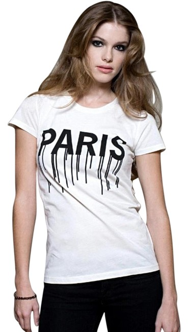 Item - White New with Tags Paris Bleeding T-shirt Tee Shirt Size 4 (S)
