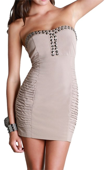 Nikibiki short dress Taupe Studded Ruched Ruching Strapless on Tradesy