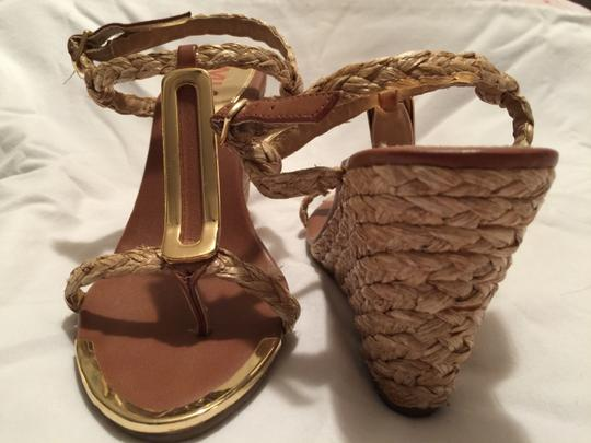 MIA Summer Strappy Wedges TAN AND GOLD Sandals
