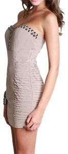 Nikibiki short dress Taupe Studded Ruching on Tradesy