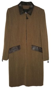 Rena Lange Wool Leather Elegant Coat