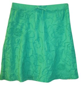 Max Studio Chenille Pattern Drawstring Mini Skirt Emerald Green