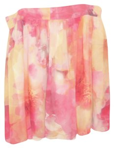 Liz Claiborne Flouncy Colorful Lined Skirt Soft Pastel Yellows and Pinks