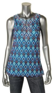 INC International Concepts Beads Sleeveless Print Top Blue Printed