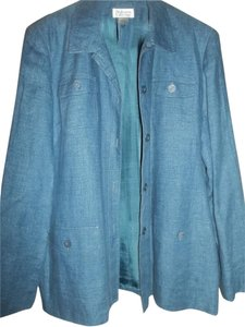 Style & Co Fall Jacket Lined Jacket Button Front Blue Denim Blazer
