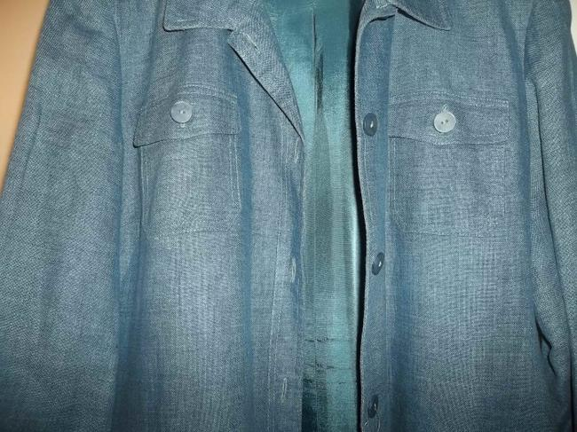 Style & Co Fall Jacket Lined Jacket Button Front Blue Denim Blazer Image 3
