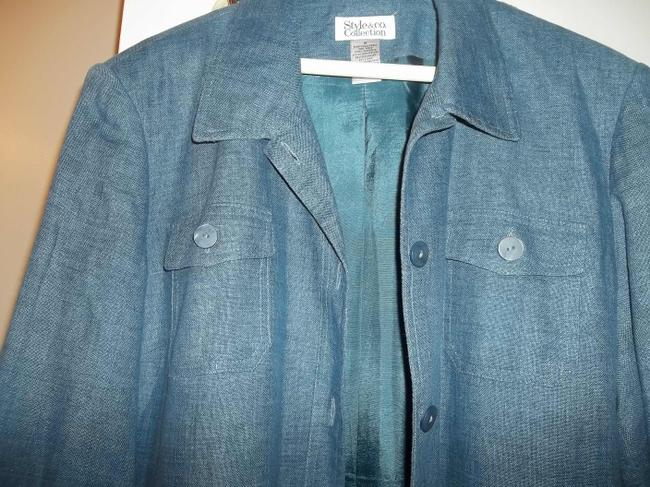 Style & Co Fall Jacket Lined Jacket Button Front Blue Denim Blazer Image 4