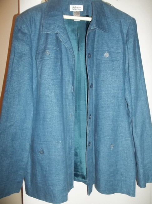 Style & Co Fall Jacket Lined Jacket Button Front Blue Denim Blazer Image 5