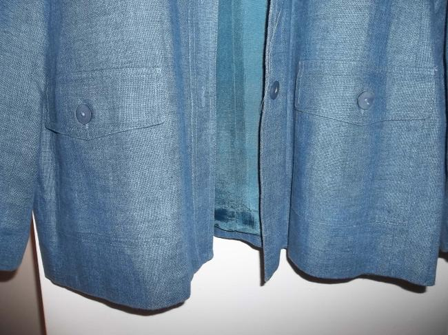 Style & Co Fall Jacket Lined Jacket Button Front Blue Denim Blazer Image 7