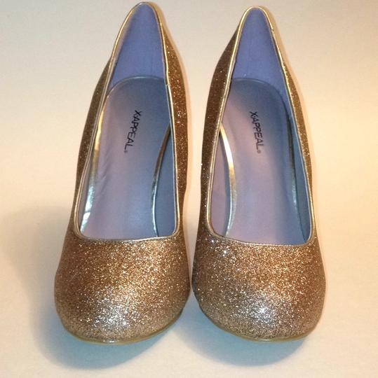 Xappeal Glitter Round Toe Formal Gold Pumps Image 1