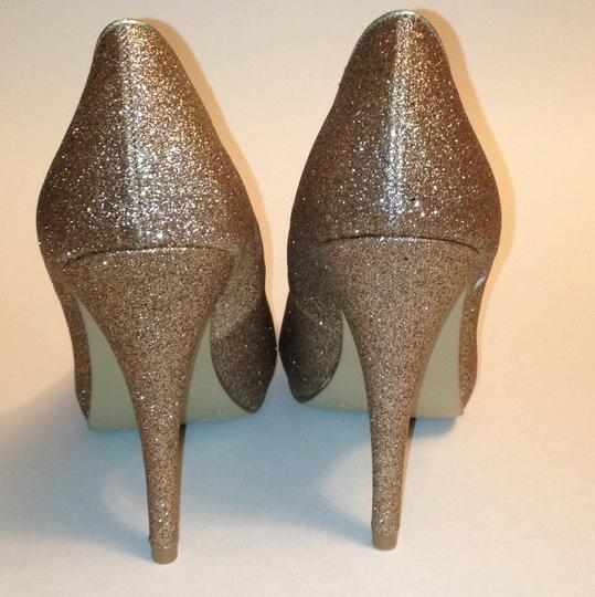 Xappeal Glitter Round Toe Formal Gold Pumps Image 10