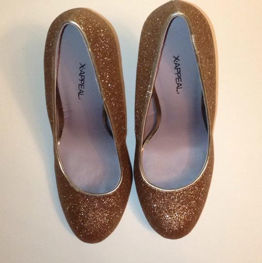 Xappeal Glitter Round Toe Formal Gold Pumps Image 2