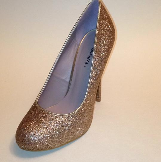 Xappeal Glitter Round Toe Formal Gold Pumps Image 4