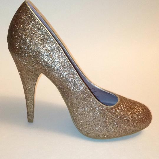Xappeal Glitter Round Toe Formal Gold Pumps Image 5
