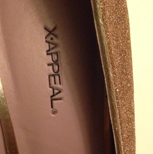 Xappeal Glitter Round Toe Formal Gold Pumps Image 7