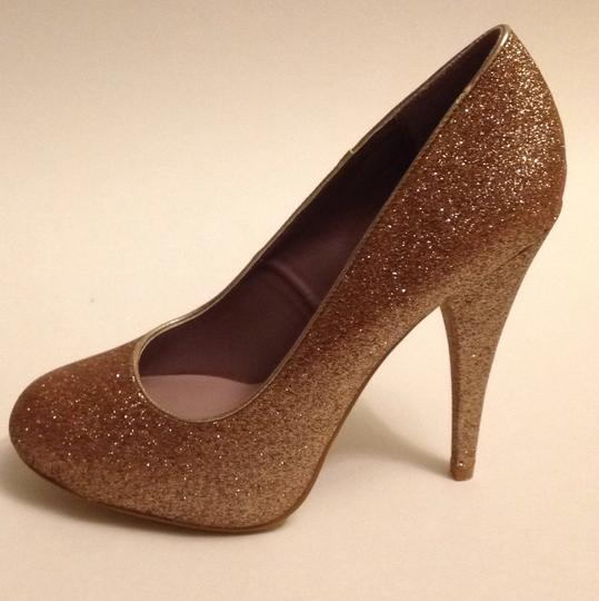 Xappeal Glitter Round Toe Formal Gold Pumps