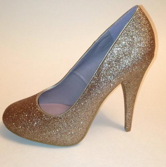 Xappeal Glitter Round Toe Formal Gold Pumps Image 9
