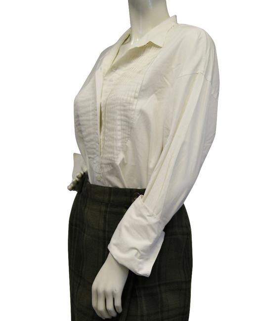 DKNY Front Pleat White Top
