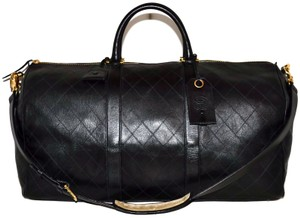 Chanel Quilted Duffle Keepall Bandouliere Black Travel Bag