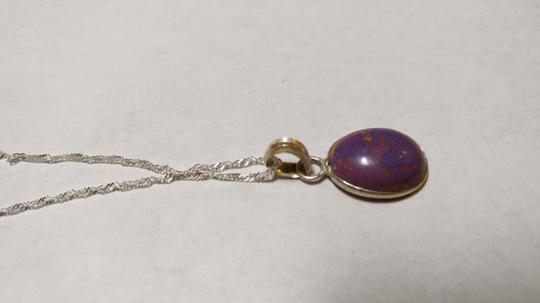 Other Purple Jasper Stone Necklace Sterling SIlver A060