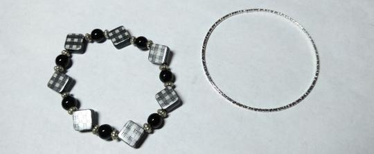 Other Black & Silver 2 Piece Bracelet Set A062