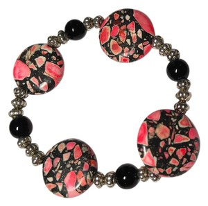Other Black & Pink Jasper Stretch Bracelet