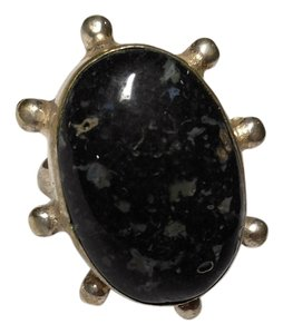 Black Jasper Stone Ring Sterling Silver R066