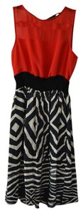 Zara short dress Red Zebra Animal Print Cinched Waist Sleeveless on Tradesy