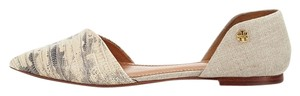 Tory Burch Viv Lizard Pointed Toe D'orsay Linen Natural Flats